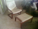 Cream Leather Easy Chair and Footstool