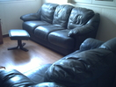 DARK BLUE LEATHER 3 SEATER TWO SEATER AND FOOTSTOOL