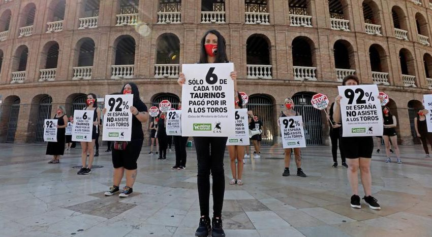 Animalist groups ask in front of the Valencia Bullring that the bullfights not return